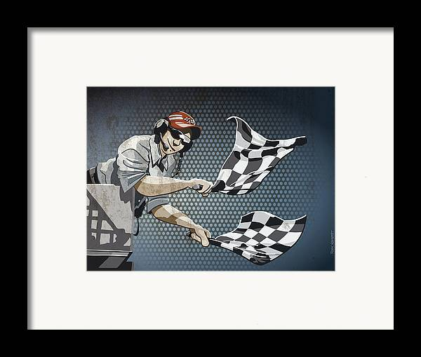 Racing Framed Print featuring the drawing Checkered Flag Grunge Color by Frank Ramspott