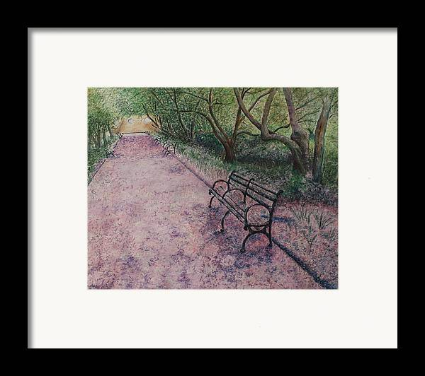 Cherry Blossoms Framed Print featuring the painting Cherry Blossom Pathway by Patsy Sharpe