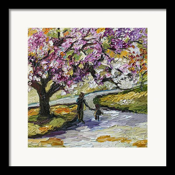 Trees Framed Print featuring the painting Cherry Blossom Tree Walk In The Park by Ginette Callaway