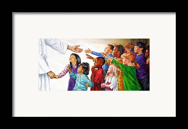 Jesus Framed Print featuring the painting Children Coming To Jesus by John Lautermilch