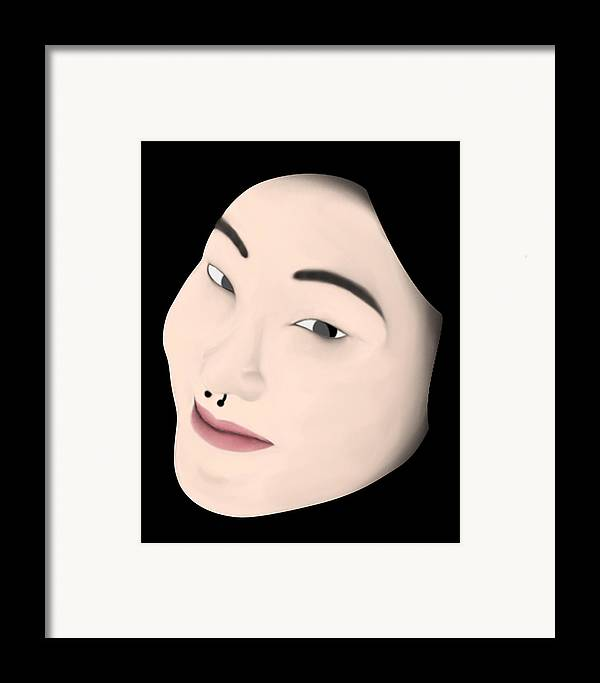 Girl Framed Print featuring the digital art Chinese Girl by Sara Ponte