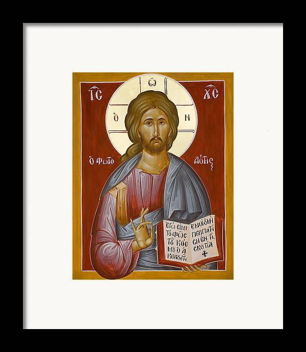Christ Framed Print featuring the painting Christ The Light-giver by Julia Bridget Hayes