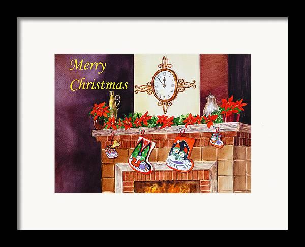 Christmas Framed Print featuring the painting Christmas Card by Irina Sztukowski