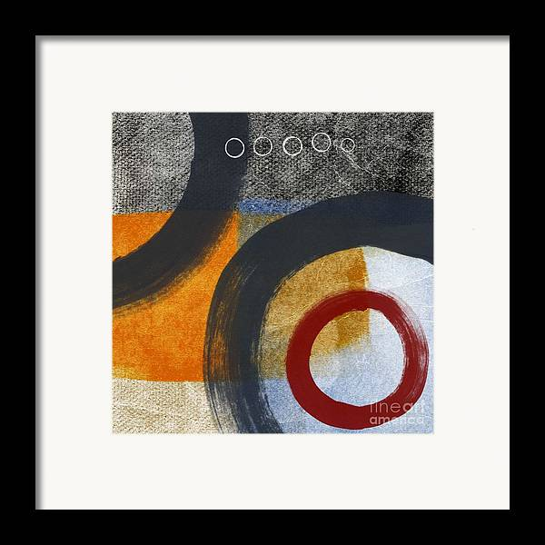 Circles Framed Print featuring the painting Circles 3 by Linda Woods