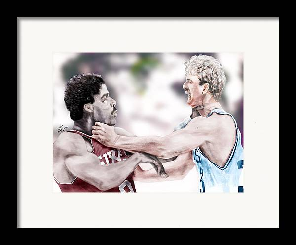 Sports Framed Print featuring the painting Clash Of The Titans 1984 - Bird And Doctor J by Reggie Duffie