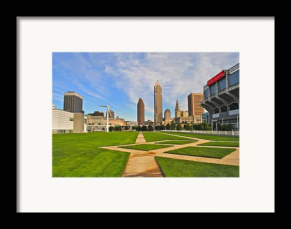 Cleveland Framed Print featuring the Cleveland Skyline by Frozen in Time Fine Art Photography