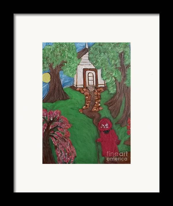 Black Lady Black Primitiveblack Art Mildred Chatman Folkart Louisiana Southerngenre Africanamerican Framed Print featuring the painting Climbin 2 by Mildred Chatman