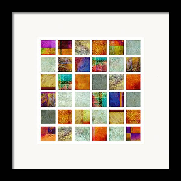 Abstract Framed Print featuring the painting Color Block Collage Abstract Art by Ann Powell