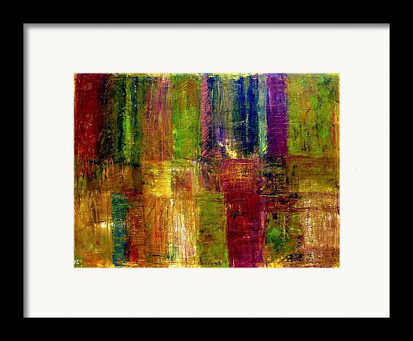Abstract Framed Print featuring the painting Color Panel Abstract by Michelle Calkins