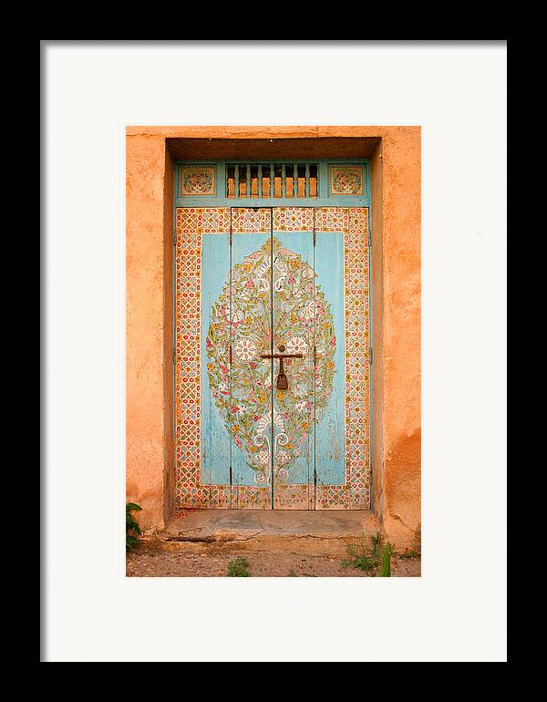 Door Framed Print featuring the photograph Colourful Moroccan Entrance Door Sale Rabat Morocco by Ralph A Ledergerber-Photography