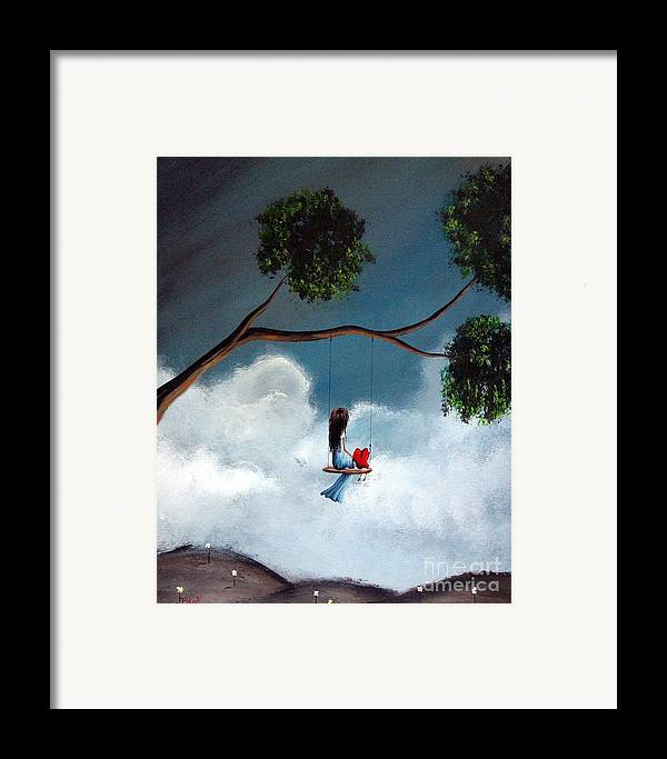 Child Framed Print featuring the painting Comfortable Silence By Shawna Erback by Shawna Erback