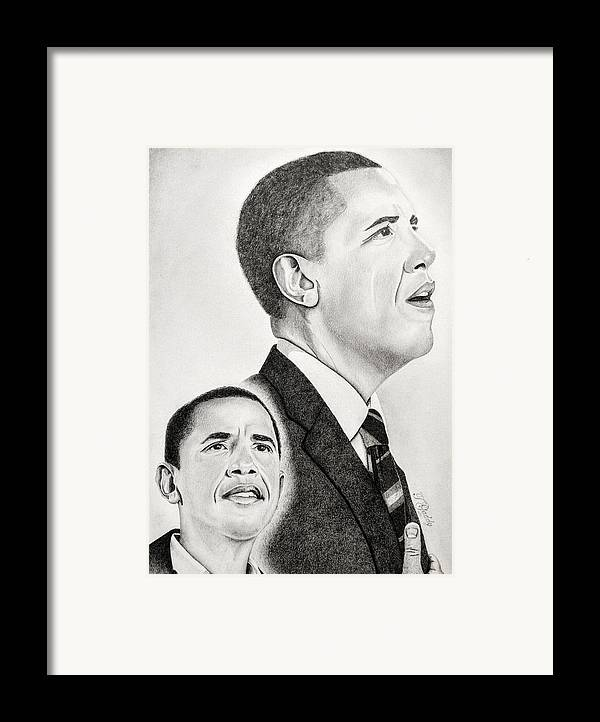 Barack Framed Print featuring the drawing Commander In Chief by Timothy Gaddy