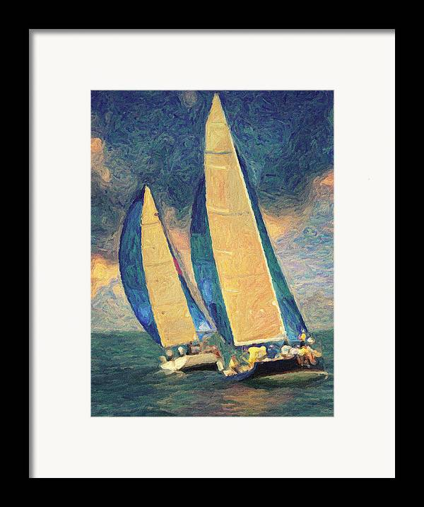 Oil Painting Framed Print featuring the painting Costa Smeralda by Taylan Apukovska