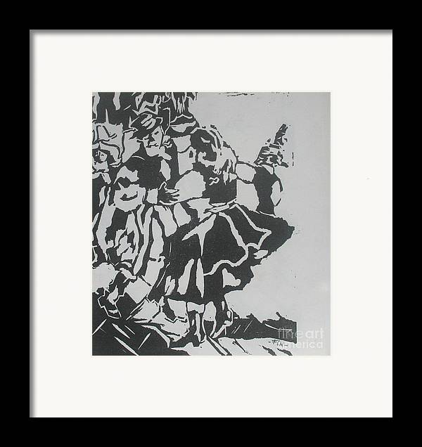 Lenoleum Cut Framed Print featuring the mixed media Country Dance by PainterArtist FIN