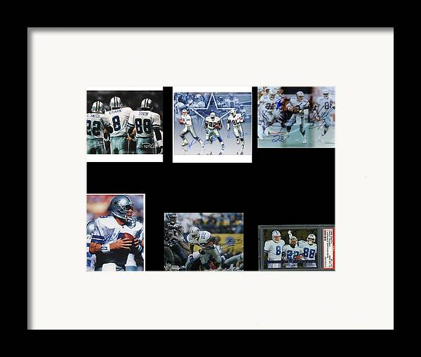 Cowboys Triple Threat Autographed Reprint Framed Print featuring the painting Cowboys Triple Threat Autographed Reprint by James Nance