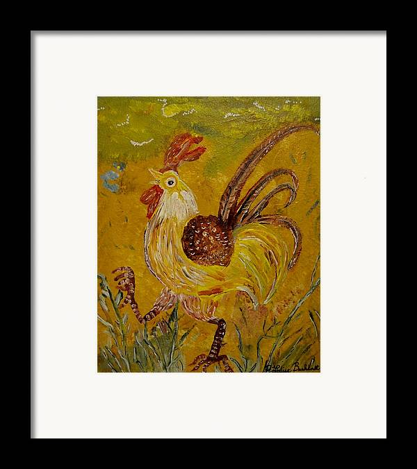 Chicken Framed Print featuring the painting Crazy Chicken by Louise Burkhardt