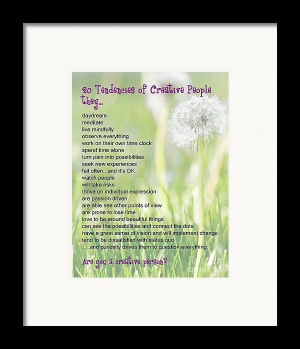 Creative People Framed Print featuring the photograph Creative People Poster by Artist and Photographer Laura Wrede