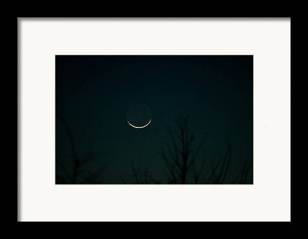 Night Framed Print featuring the photograph Crescent Moon by Jessica Brown