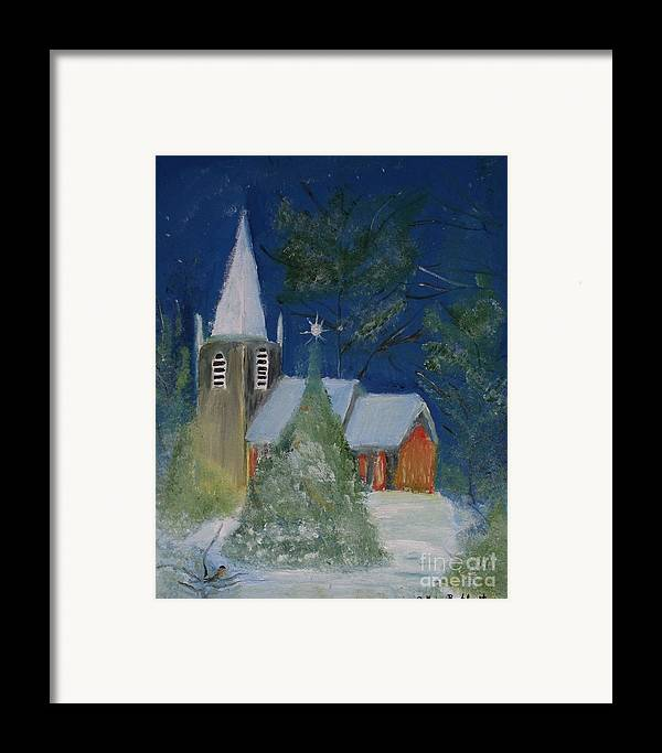 Christmas Holiday Scenery Framed Print featuring the painting Crisp Holiday Night by Louise Burkhardt