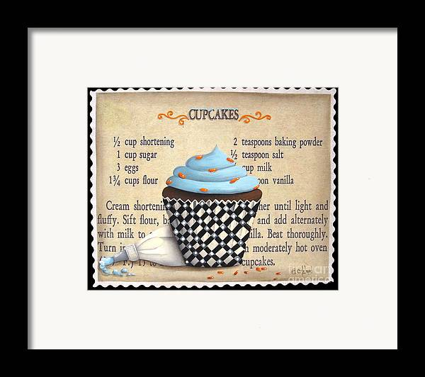 Folk Art Framed Print featuring the painting Cupcake Masterpiece by Catherine Holman