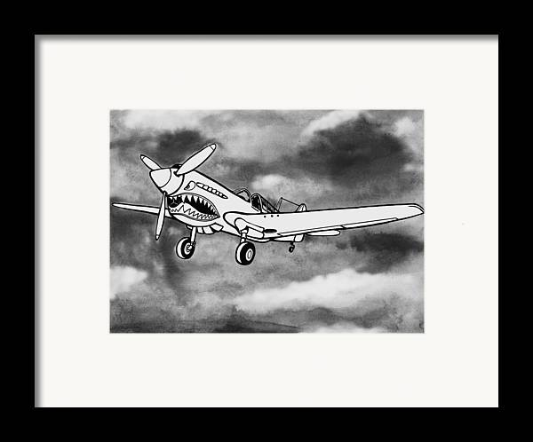 Warhawk Framed Print featuring the mixed media Curtiss P-40 Warhawk 2 by Scott Nelson