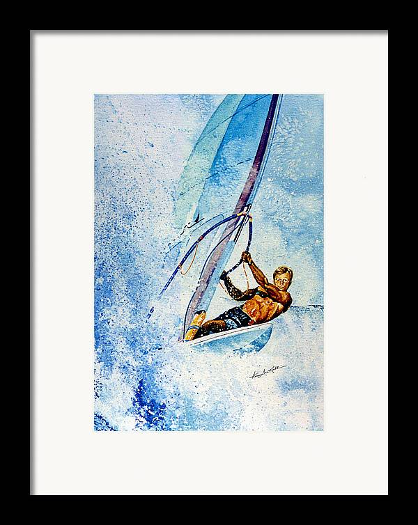 Surfing Framed Print featuring the painting Cutting The Surf by Hanne Lore Koehler