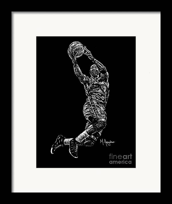 Dwyane Wade Framed Print featuring the drawing D. Wade by Maria Arango