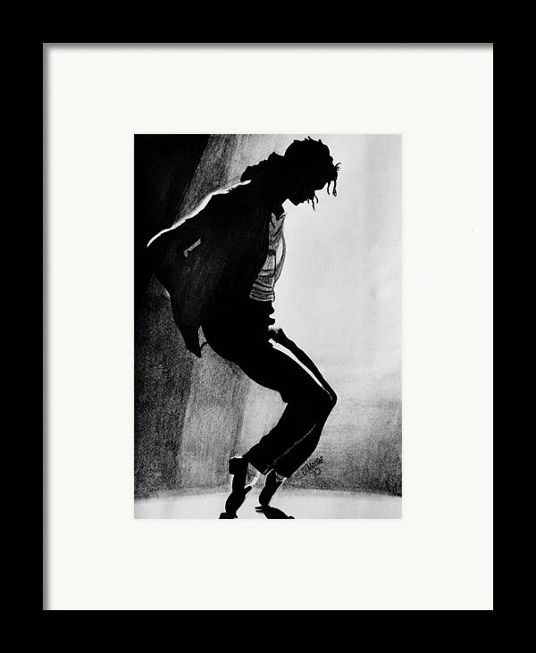 Michael Jackson Dance Tippy Toes Sillouhette Pop Star Music Framed Print featuring the drawing Dance by Jeremy Moore
