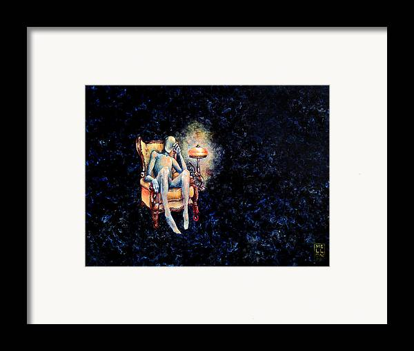 Death Framed Print featuring the painting Deaths Waiting Room by Mark M Mellon