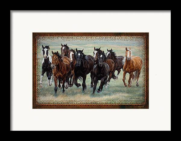 Michelle Grant Framed Print featuring the painting Deco Horses by JQ Licensing
