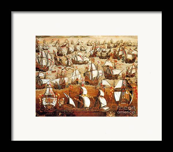 History Framed Print featuring the photograph Defeat Of The Spanish Armada 1588 by Photo Researchers