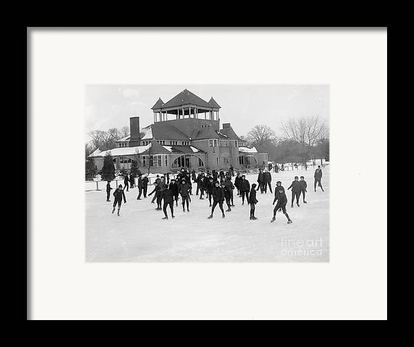 Detroit Framed Print featuring the photograph Detroit Michigan Skating At Belle Isle by Anonymous
