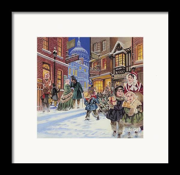 Dickensian Christmas Scene Framed Print featuring the painting Dickensian Christmas Scene by Angus McBride