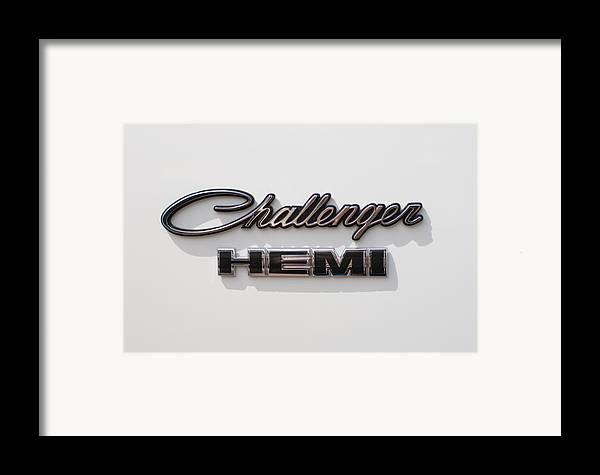 Dodge Challenger Hemi Emblem Framed Print featuring the photograph Dodge Challenger Hemi Emblem by Jill Reger