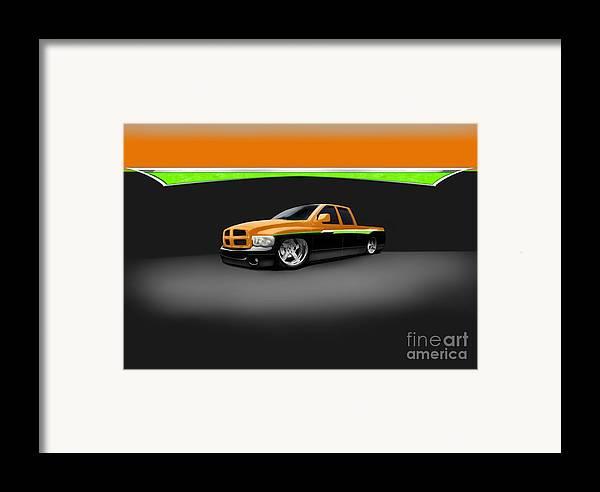 Custom Framed Print featuring the digital art Dodge by Frankie Thorpe