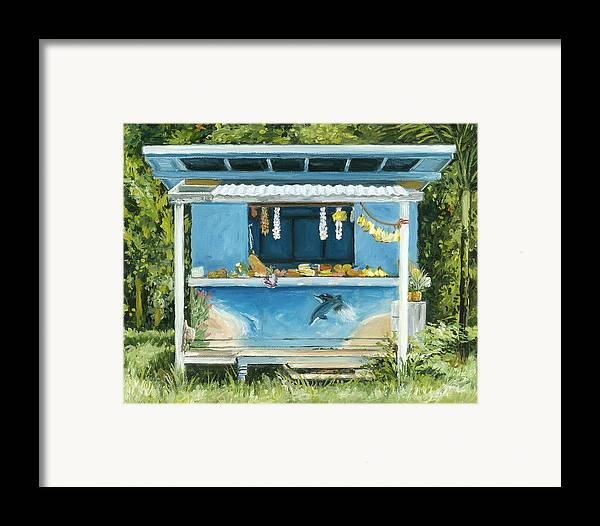 Tropical Fruit Framed Print featuring the painting Dolphin Bar by Stacy Vosberg