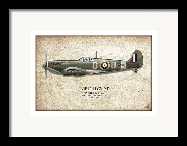 Aviation Framed Print featuring the painting Douglas Bader Spitfire - Map Background by Craig Tinder