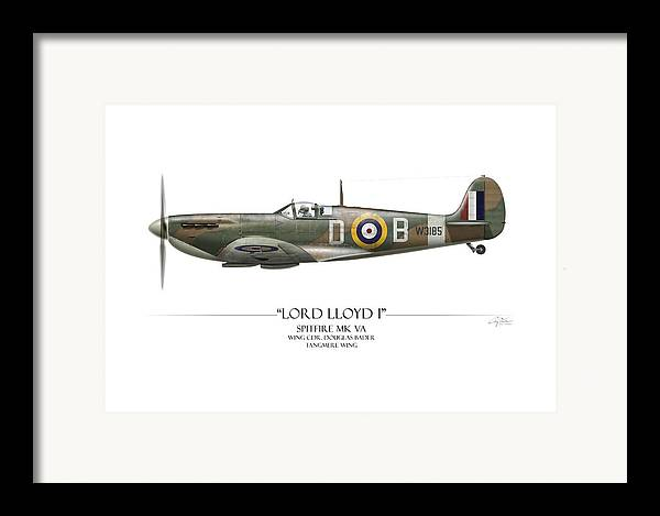 Aviation Framed Print featuring the painting Douglas Bader Spitfire - White Background by Craig Tinder