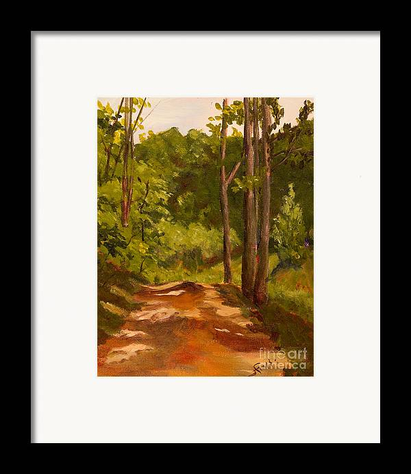 Dirt Framed Print featuring the painting Down The Road by Janet Felts