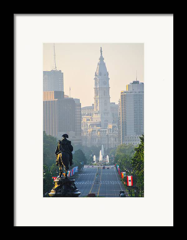 Downtown Framed Print featuring the photograph Downtown Philadelphia - Benjamin Franklin Parkway by Simon Wolter