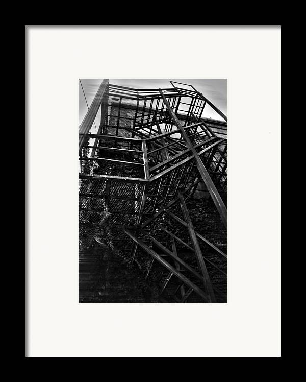 Black And White Photograph Framed Print featuring the photograph Downtown Stairs by Pierre Louis