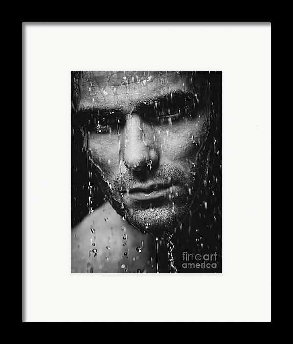 Man Framed Print featuring the photograph Dramatic Portrait Of Man Wet Face Black And White by Oleksiy Maksymenko