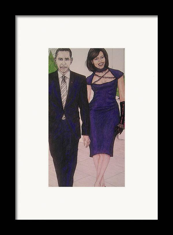 Drawings Framed Print featuring the drawing Drawings Of Barack And Michelle Obama by Vicki Jones