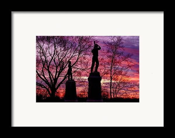 Civil War Framed Print featuring the photograph Durell's Independent Battery D And 48th Pa Volunteer Infantry-a1 Sunset Antietam by Michael Mazaika
