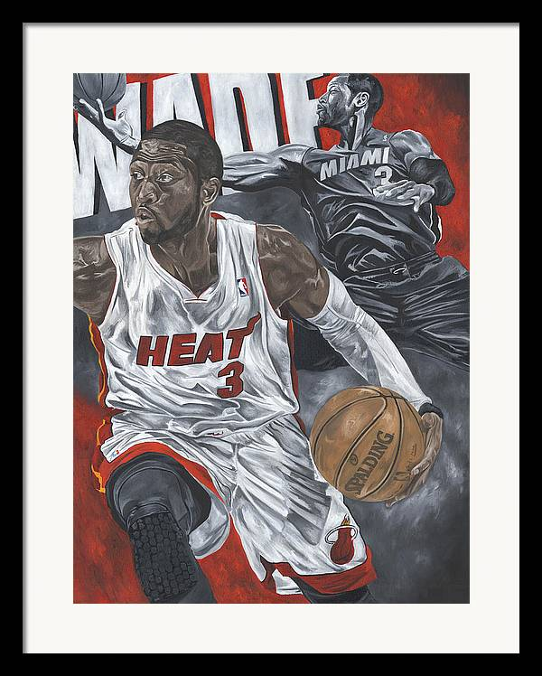 Dwyane Wade Painting Framed Print featuring the painting Dwyane Wade by David Courson
