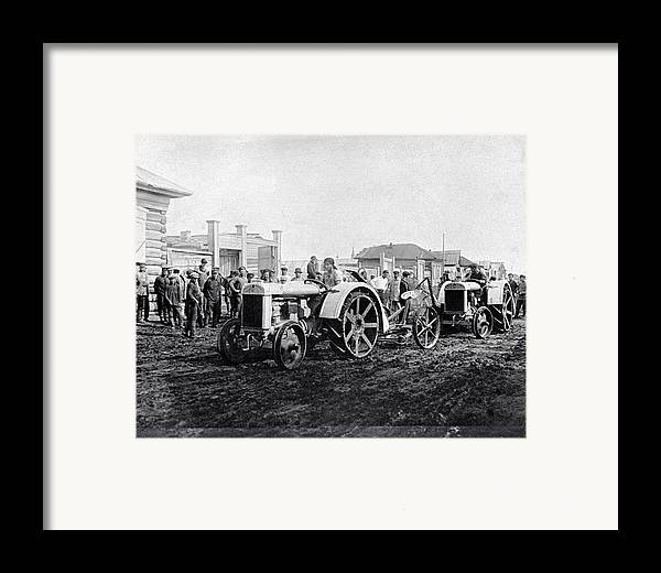 People Framed Print featuring the photograph Early Tractors, Russia by Science Photo Library
