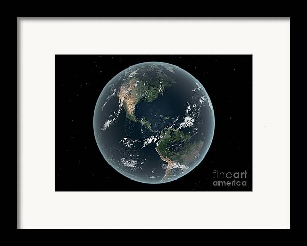 Earth Framed Print featuring the digital art Earths Western Hemisphere With Rise by Walter Myers