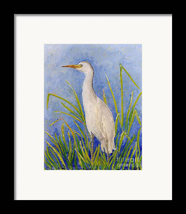 Hawaii Birds Framed Print featuring the painting Egret Morning by Anna Skaradzinska