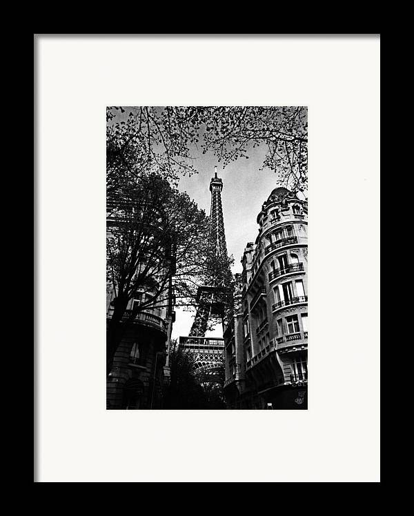 Paris Framed Print featuring the photograph Eiffel Tower Black And White by Andrew Fare