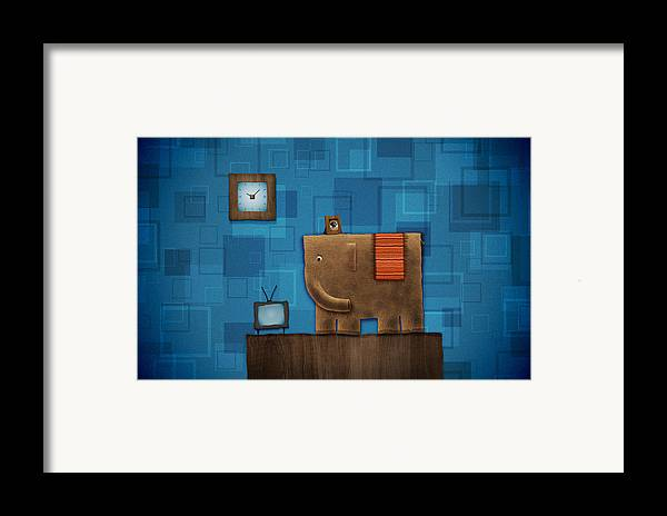Abstract Framed Print featuring the drawing Elephant On The Wall by Gianfranco Weiss